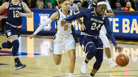 <p>               Notre Dame's Arike Ogunbowale, right, is drives to the basket against Marquette's Natisha Hiedeman, left, during the first half of an NCAA women's college basketball game Saturday, Dec. 22, 2018, in Milwaukee. (AP Photo/Darren Hauck)             </p>