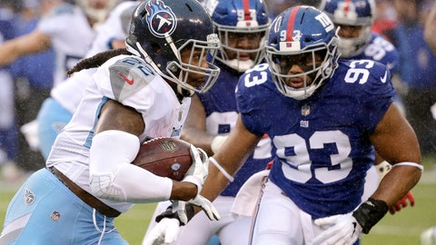 <p>               Tennessee Titans running back Derrick Henry, left, runs with the ball as New York Giants middle linebacker B.J. Goodson (93) moves in for the tackle during the first half of an NFL football game, Sunday, Dec. 16, 2018, in East Rutherford, N.J. (AP Photo/Seth Wenig)             </p>