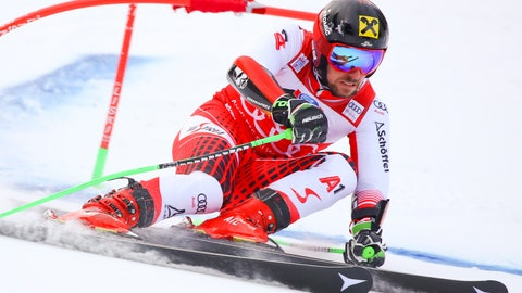 <p>               Austria's Marcel Hirscher speeds down the course during a men's World Cup Giant Slalom, in Alta Badia, Italy, Sunday, Dec. 16, 2018. (AP Photo/Alessandro Trovati)             </p>