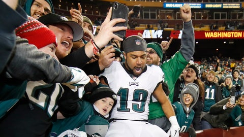 <p>               Philadelphia Eagles wide receiver Golden Tate (19) celebrates with fans after the NFL football game between the Washington Redskins and the Philadelphia Eagles, Sunday, Dec. 30, 2018 in Landover, Md. The Eagles defeated the Redskins 24-0. (AP Photo/Alex Brandon)             </p>