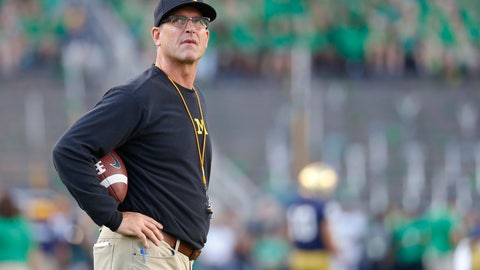 <p>               FILE - In this Sept. 1, 2018, file photo, Michigan coach Jim Harbaugh stands on the field before the team's NCAA college football game against Notre Dame in South Bend, Ind. Harbaugh says he is staying at Michigan, responding to speculation he's returning to the NFL. The former San Francisco 49ers coach tells ESPN he's not going anywhere. Fox Sports analyst Cris Carter has said Harbaugh is a potential candidate to lead Green Bay and Cleveland. Michigan won 10 games this season for the third time under Harbaugh but dropped to 0-4 against rival Ohio State. (AP Photo/Paul Sancya, File)             </p>