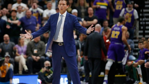 <p>               Utah Jazz coach Quin Snyder stands on the court as Jazz center Rudy Gobert (27) leaves the court after being ejected during the first half of the team's NBA basketball game against the Houston Rockets on Thursday Dec. 6, 2018, in Salt Lake City. (AP Photo/Rick Bowmer)             </p>