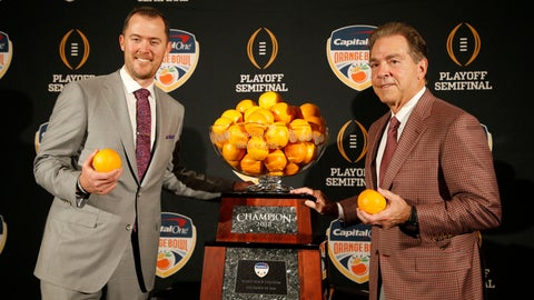 <p>               Alabama head coach Nick Saban, right, stands with Oklahoma head coach Lincoln Riley at an NCAA college football news conference in Fort Lauderdale, Fla., Friday, Dec. 28, 2018. Alabama plays Oklahoma in the Orange Bowl on Saturday, Dec. 29. (AP Photo/Joe Skipper)             </p>