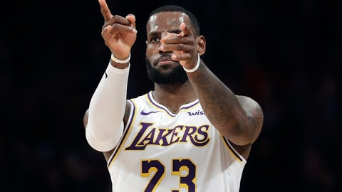 <p>               Los Angeles Lakers' LeBron James (23) gestures after scoring against the Phoenix Suns during the first half of an NBA basketball game Sunday, Dec. 2, 2018, in Los Angeles. (AP Photo/Marcio Jose Sanchez)             </p>