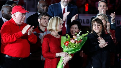 <p>               Pam Valvano Strasser, center, reacts after James T. Valvano Arena was officially dedicated before an NCAA college basketball game between North Carolina State and Western Carolina, at Valvano Arena at Reynolds Coliseum in Raleigh, N.C., Wednesday, Dec. 5, 2018. Valvano Strasser's late husband, former coach Jim Valvano, led N.C. State to the 1983 NCAA championship. (Ethan Hyman/The News & Observer via AP)             </p>