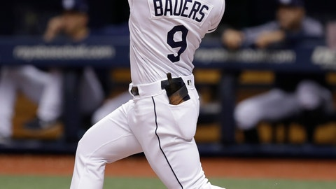 <p>               FILE - In this Aug. 8, 2018, file photo, Tampa Bay Rays' Jake Bauers bats during the first inning of a baseball game against the Baltimore Orioles, in St. Petersburg, Fla. Edwin Encarnacion has been traded to Seattle and first baseman Carlos Santana has returned to the Indians in a three-team deal that also involved Tampa Bay. The Rays got infielder Yandy Diaz and minor league right-hander Cole Slusser from Cleveland. The Indians also acquired first baseman Jake Bauers. The swap came Thursday, Dec. 13, 2018,  at the close of the winter meetings. (AP Photo/Chris O'Meara, File)             </p>