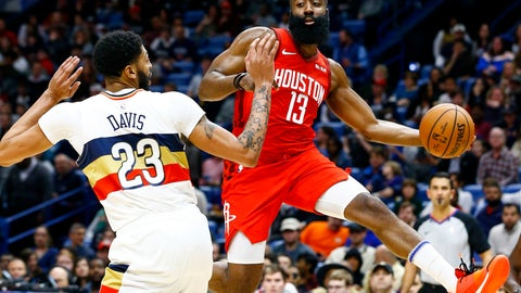 <p>               Houston Rockets guard James Harden (13) passes the ball around New Orleans Pelicans forward Anthony Davis (23) during the first half of an NBA basketball game, Saturday, Dec. 29, 2018, in New Orleans. (AP Photo/Butch Dill)             </p>