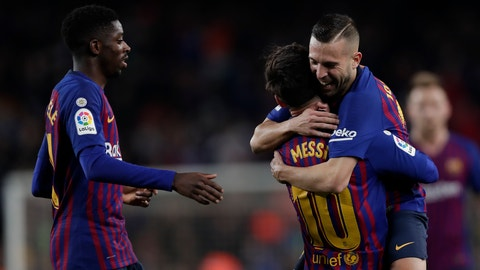 <p>               FC Barcelona's Lionel Messi celebrates after scoring with his teammate Jordi Alba during the Spanish La Liga soccer match between FC Barcelona and Celta Vigo at the Camp Nou stadium in Barcelona, Spain, Saturday, Dec. 22, 2018. (AP Photo/Manu Fernandez)             </p>