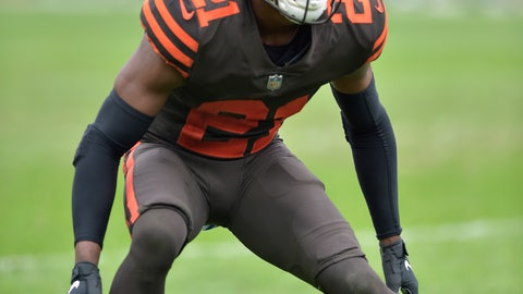 <p>               FILE - In this Oct. 7, 2018, file photo, Cleveland Browns cornerback Denzel Ward lines up during an NFL football game against the Baltimore Ravens, in Cleveland. Ward will miss Sunday's, Dec. 16, 2018,  game at Denver with a concussion. (AP Photo/David Richard, File)             </p>