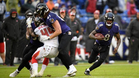 <p>               Baltimore Ravens quarterback Lamar Jackson (8) rushes the ball in the second half of an NFL football game against the Tampa Bay Buccaneers, Sunday, Dec. 16, 2018, in Baltimore. (AP Photo/Nick Wass)             </p>