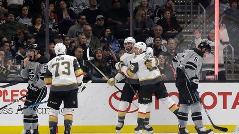 <p>               Vegas Golden Knights' Alex Tuch, center, celebrates his goal with teammate Paul Stastny (26) during the second period of an NHL hockey game against the Los Angeles Kings Saturday, Dec. 29, 2018, in Los Angeles. (AP Photo/Marcio Jose Sanchez)             </p>