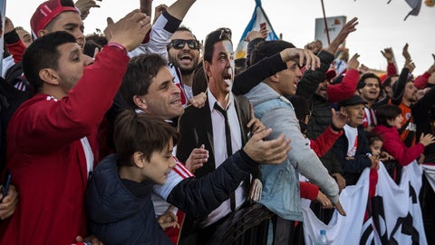"<p>               River Plate supporters hold a cutout of River Plate's coach Marcelo Gallardo ahead of the Copa Libertadores Final between River Plate and Boca Juniors in Madrid, Sunday, Dec. 9, 2018. Tens of thousands of Boca and River fans are in the city for the ""superclasico"" at Santiago Bernabeu Stadium on Sunday. (AP Photo/Olmo Calvo)             </p>"