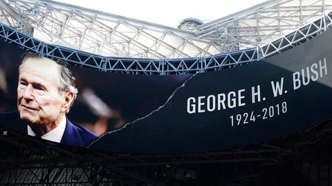 <p>               A tribute for Former President George H.W. Bush is seen before the first half of an NFL football game between the Atlanta Falcons and the Baltimore Ravens, Sunday, Dec. 2, 2018, in Atlanta. Bush died late Friday at his Houston home at age 94. (AP Photo/John Bazemore)             </p>