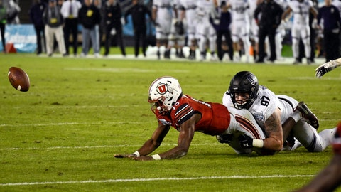 <p>               Utah quarterback Jason Shelley (15) fumbles as he is tackled by Northwestern defensive lineman Joe Gaziano (97) as he runs during the second half of the Holiday Bowl NCAA college football game Monday, Dec. 31, 2018, in San Diego. The fumble was picked up by Northwestern and returned for an 86-yard touchdown. (AP Photo/Denis Poroy)             </p>