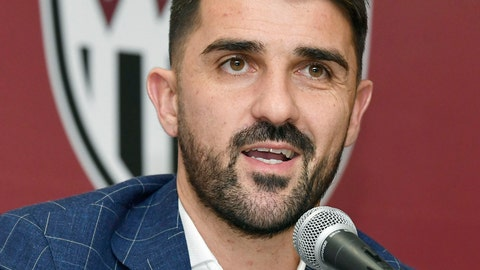 <p>               Former Spain international David Villa speaks during a press conference in Kobe, western Japan, Saturday, Dec. 1, 2018. Villa announced to play for Vissel Kobe in the J1 League from the next season. (Junko Ozaki/Kyodo News via AP)             </p>