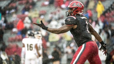 <p>               South Carolina wide receiver Deebo Samuel (1) celebrates his third touchdown during the first half of an NCAA college football game against Akron Saturday, Dec. 1, 2018, in Columbia, S.C. (AP Photo/Sean Rayford)             </p>