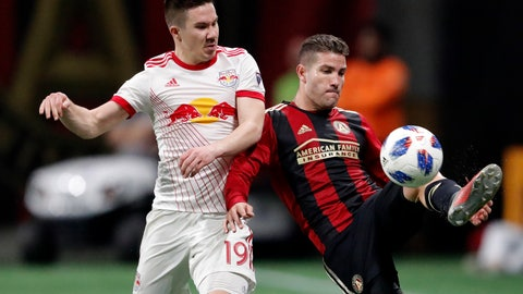 <p>               FILE - In this  Sunday, Nov. 25, 2018 file photo, Atlanta United defender Greg Garza, right, controls the ball as New York Red Bulls midfielder Alex Muyl (19) defends In the second half of an MLS soccer playoff game in Atlanta. Cincinnati FC acquired striker Kei Kamara from the Vancouver Whitecaps in the MLS expansion draft and then immediately dealt him to the Colorado Rapids. The team also acquired FC left back Greg Garza from MLS Cup champion Atlanta United for $450,000 in allocation money. (AP Photo/John Bazemore, File)             </p>