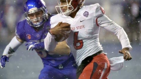 <p>               Fresno State quarterback Marcus McMaryion (6) runs past Boise State linebacker Sam Whitney (53) during an NCAA college football game for the Mountain West Conference championship Saturday, Dec. 1, 2018, in Boise, Idaho. (Drew Nash/The Times-News via AP)             </p>