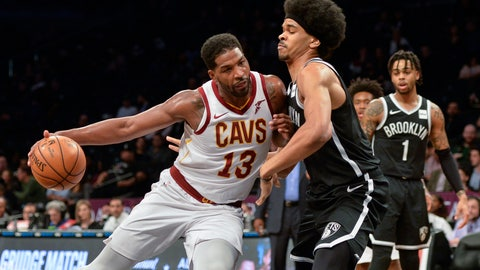 <p>               Cleveland Cavaliers center Tristan Thompson (13) pushes in on Brooklyn Nets guard Allen Crabbe (33) in the first half of an NBA basketball game, Monday, Dec. 3, 2018, in New York. (AP Photo/Howard Simmons)             </p>