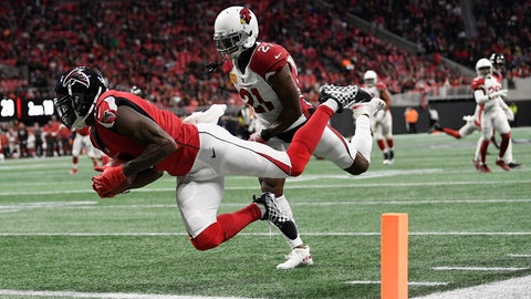 <p>               Atlanta Falcons wide receiver Julio Jones (11) makes a touchdown catch against Arizona Cardinals cornerback Patrick Peterson (21) during the first half of an NFL football game, Sunday, Dec. 16, 2018, in Atlanta. (AP Photo/Danny Karnik)             </p>