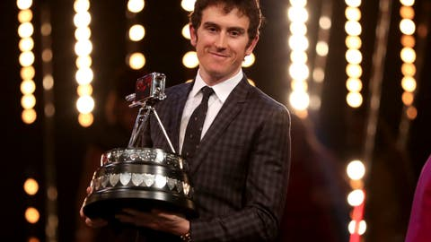 <p>               Geraint Thomas poses with the BBC Sports Personality of the Year award during the BBC Sports Personality of the Year 2018 at Birmingham Genting Arena, Sunday December 16, 2018.   (David Davies/PA via AP)             </p>