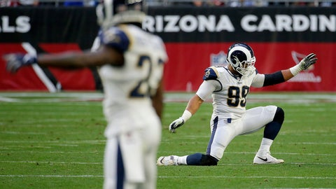 <p>               Los Angeles Rams defensive end Aaron Donald (99) celebrates a defensive stop against the Arizona Cardinals during the second half of an NFL football game, Sunday, Dec. 23, 2018, in Glendale, Ariz. (AP Photo/Rick Scuteri)             </p>