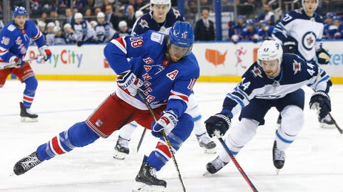 <p>               New York Rangers defenseman Marc Staal (18) controls the puck against Winnipeg Jets defenseman Josh Morrissey (44) during the second period of an NHL hockey game, Sunday, Dec. 2, 2018, in New York. (AP Photo/Noah K. Murray)             </p>