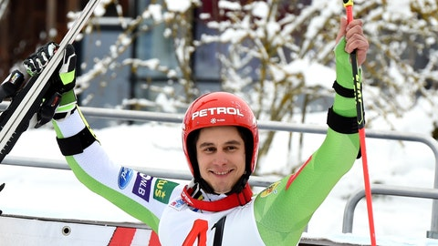 <p>               First placed Slovenia's Zan Kranjec celebrates at the end of an alpine ski, men's World Cup giant slalom in Saalbach-Hinterglemm, Austria, Wednesday, Dec. 19, 2018. Zan Kranjec became the first Slovenian skier to win a men's World Cup giant slalom on Wednesday, hours after countrywoman Ilka Stuhec won a women's super-G in Italy. (AP Photo/Marco Tacca)             </p>