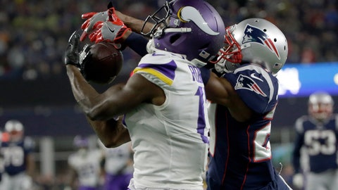 <p>               New England Patriots defensive back J.C. Jackson, right, breaks up a pass intended for Minnesota Vikings wide receiver Aldrick Robinson during the second half of an NFL football game, Sunday, Dec. 2, 2018, in Foxborough, Mass. (AP Photo/Steven Senne)             </p>