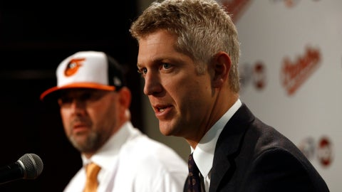 <p>               Baltimore Orioles executive vice president and general manager Mike Elias speaks at an introductory news conference for manager Brandon Hyde, back left, Monday, Dec. 17, 2018, in Baltimore. Hyde is the 20th manager in the team's history. (AP Photo/Patrick Semansky)             </p>