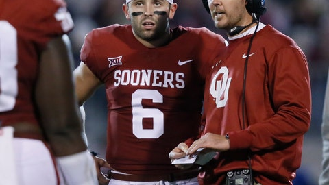 <p>               FILE - In this Nov. 11, 2017, file photo, Oklahoma head coach Lincoln Riley, right, talks with quarterback Baker Mayfield (6) in the first quarter of an NCAA college football game against TCU, in Norman, Okla. The Browns rookie quarterback Baker Mayfield believes Riley is ready to make the jump to the NFL. Mayfield played for Riley in college and has a strong relationship with his former coach. (AP Photo/Sue Ogrocki, File)             </p>