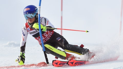 <p>               United States' Mikaela Shiffrin speeds down the course during a ski World Cup women's Slalom race, in Courchevel, France, Saturday, Dec. 22, 2018. (AP Photo/Marco Tacca)             </p>