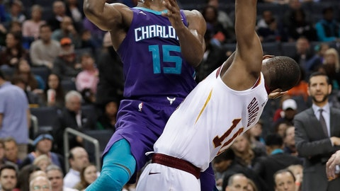 <p>               Charlotte Hornets' Kemba Walker (15) drives against Cleveland Cavaliers' Alec Burks (10) during the second half of an NBA basketball game in Charlotte, N.C., Wednesday, Dec. 19, 2018. (AP Photo/Chuck Burton)             </p>
