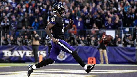 <p>               Baltimore Ravens quarterback Lamar Jackson scores a touchdown in the first half of an NFL football game against the Cleveland Browns, Sunday, Dec. 30, 2018, in Baltimore. (AP Photo/Nick Wass)             </p>