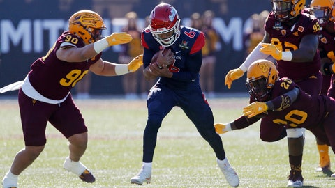 <p>               Fresno State quarterback Marcus McMaryion (6) runs for a gain against Arizona State during the first half of the Las Vegas Bowl NCAA college football game, Saturday, Dec. 15, 2018, in Las Vegas. (AP Photo/John Locher)             </p>