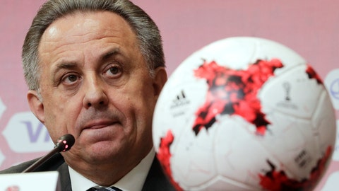 <p>               FILE - In this Tuesday, April 25, 2017 file photo, Russia's deputy prime minister in charge of sport, tourism and youth policies Vitaly Mutko attends a news conference after the Russia 2018 LOC Board meeting with FIFA participation in St. Petersburg, Russia. Russian Deputy Prime Minister Vitaly Mutko, who was banned from the Olympics for life because of the country's doping scandals, resigned Wednesday Dec. 19, 2018, as president of the Russian Football Union. (AP Photo/Dmitri Lovetsky, File)             </p>