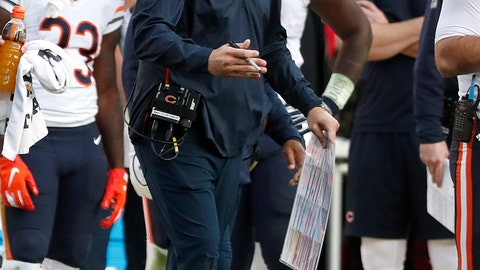 <p>               Chicago Bears head coach Matt Nagy yells during the second half of an NFL football game against the San Francisco 49ers in Santa Clara, Calif., Sunday, Dec. 23, 2018. (AP Photo/Tony Avelar)             </p>