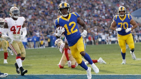 <p>               Los Angeles Rams wide receiver Brandin Cooks (12) scores against the San Francisco 49ers during the first half in an NFL football game Sunday, Dec. 30, 2018, in Los Angeles. (AP Photo/Marcio Jose Sanchez)             </p>