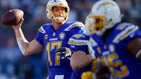 <p>               FILE - In this Nov. 25, 2018, file photo, Los Angeles Chargers quarterback Philip Rivers throws a pass during the first half of an NFL football game against the Arizona Cardinals in Carson, Calif. The quarterback matchup for Saturday's pivotal game between the Baltimore Ravens and Los Angeles Chargers might offer the biggest contrasts this season. (AP Photo/Kelvin Kuo, File)             </p>