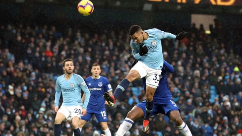 <p>               Manchester City's Gabriel Jesus scores his side's second goal of the game during the Englsih Premier League soccer match between Manchester City and Everton at the Etihad Stadium, Manchester, England. Saturday Dec. 15, 2018. (Martin Rickett/PA via AP)             </p>