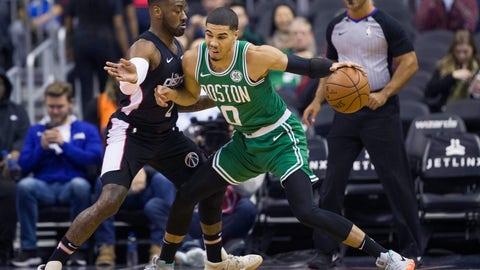 <p>               Boston Celtics forward Jayson Tatum (0) drives against Washington Wizards guard John Wall (2) during the first half of an NBA basketball game Wednesday, Dec. 12, 2018, in Washington. (AP Photo/Alex Brandon)             </p>