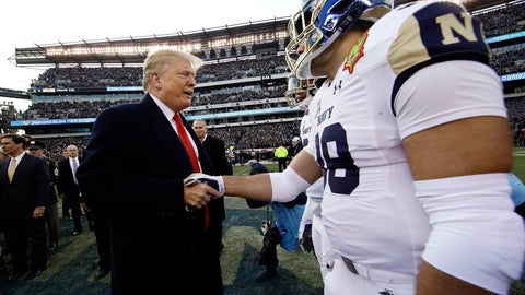 <p>               President Donald Trump meets with Navy player Anthony Gargiulo ahead of an NCAA college football game between Army and Navy, Saturday, Dec. 8, 2018, in Philadelphia. (AP Photo/Matt Rourke)             </p>