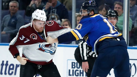 <p>               Colorado Avalanche's J.T. Compher (37) and St. Louis Blues' Brayden Schenn fight during the first period of an NHL hockey game Friday, Dec. 14, 2018, in St. Louis. (AP Photo/Jeff Roberson)             </p>