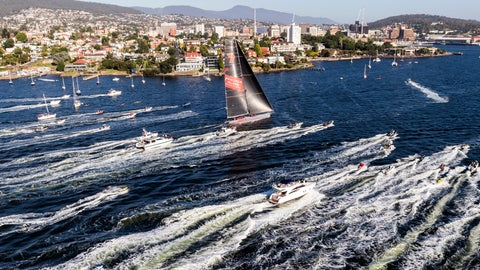 <p>               In this photo provided by Rolex/Studio Borlenghi, supermaxi Wild Oats XI, center, arrives in Hobart, Australia, to win the line honors in the Sydney Hobart yacht race, Friday, Dec. 28, 2018. (Carlo Borlenghi/Rolex/Studio Borlenghi via AP)             </p>