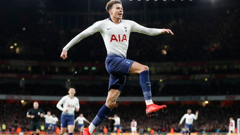 <p>               Tottenham's Dele Alli celebrates after scoring his side's second goal during the English League Cup quarter final soccer match between Arsenal and Tottenham Hotspur at the Emirates stadium in London, Wednesday, Dec. 19, 2018. (AP Photo/Frank Augstein)             </p>