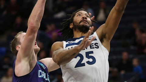 <p>               Minnesota Timberwolves' Derrick Rose (25) shoots the ball against Charlotte Hornets' Cody Zeller (40) in the first half of an NBA basketball game Wednesday, Dec. 5, 2018, in Minneapolis. (AP Photo/Stacy Bengs)             </p>
