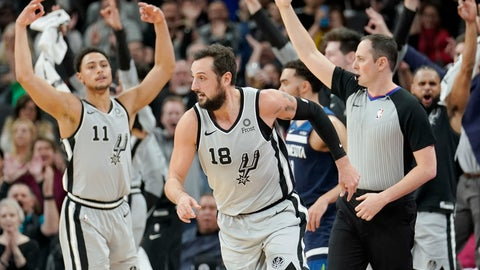 <p>               San Antonio Spurs' Marco Belinelli (18) runs upcourt after scoring a three-point basket as the team's bench and fans celebrate during the first half of an NBA basketball game against the Minnesota Timberwolves, Friday, Dec. 21, 2018, in San Antonio. (AP Photo/Darren Abate)             </p>