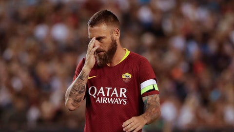 <p>               FILE - In this Wednesday, July 25, 2018, file photo, Roma midfielder Daniele De Rossi (16) during the second half of an International Champions Cup tournament soccer match against Tottenham in San Diego. With a coach under pressure, players struggling for confidence and an injury-hit squad, the last thing Roma needs is a trip to the undefeated league leader. (AP Photo/Gregory Bull, File)             </p>