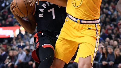 <p>               Toronto Raptors guard Kyle Lowry (7) drives to the basket as Golden State Warriors guard Klay Thompson (11) defends during the first half of an NBA basketball game Thursday, Nov. 29, 2018, in Toronto. (Nathan Denette/The Canadian Press via AP)             </p>