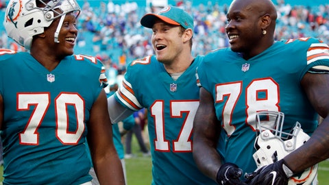<p>               Miami Dolphins quarterback Ryan Tannehill (17) celebrates with offensive tackles Ja'Wuan James (70) and Laremy Tunsil (78) after defeating the Buffalo Bills 21-17 at an NFL football game, Sunday, Dec. 2, 2018, in Miami Gardens, Fla. (AP Photo/Joel Auerbach)             </p>